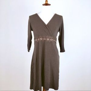 LOFT Brown 3/4 Sleeve Faux Wrap Dress Embroidered